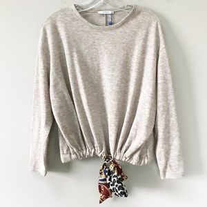 Zara | Basic Sweater with Tie Front Scarf Small